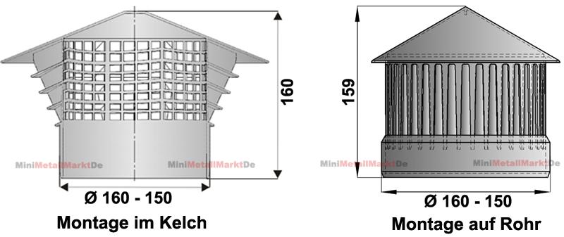 entl ftungshaube 150 160 dunsthut dachentl fter l ftungspilz ht kg rohr kaminhut ebay. Black Bedroom Furniture Sets. Home Design Ideas