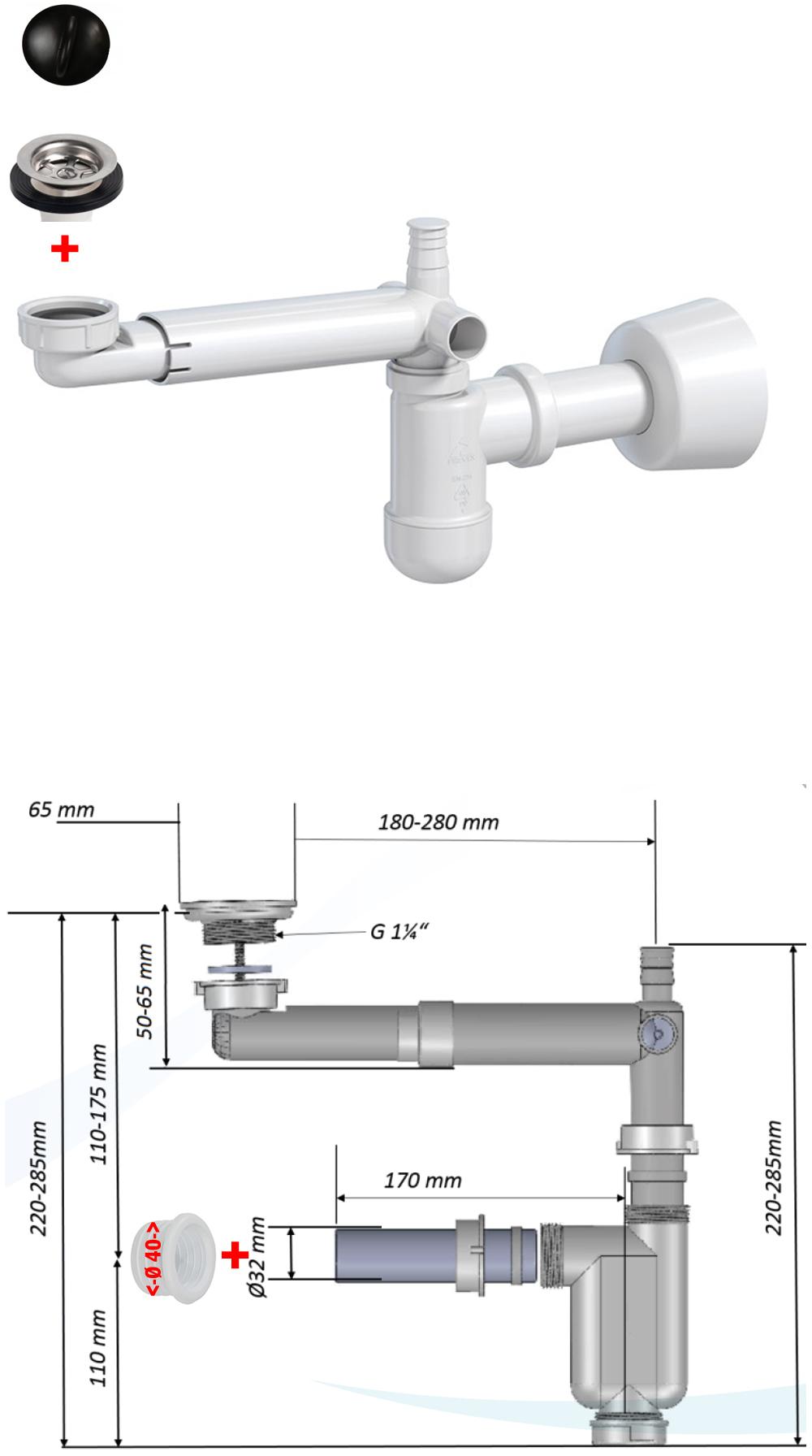 """1 1//4/"""" Raumspar Siphon Sifon DN 32 40 Waschtisch Bad Becken Geruchsver Syphon"""